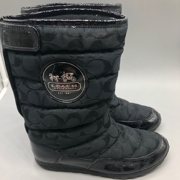 Coach signature monogram snow boots